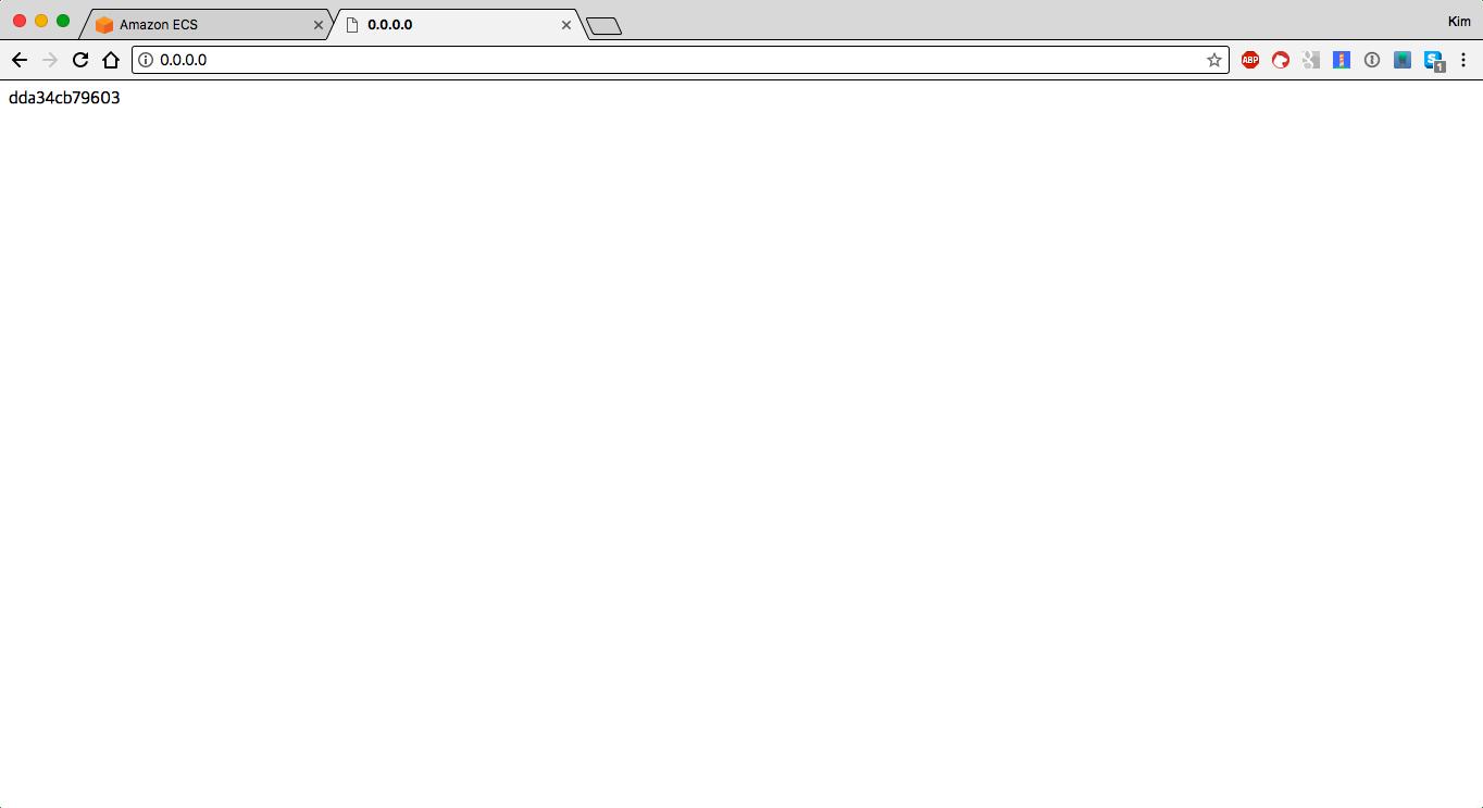 stenote/nginx-hostname 이미지를 실행하고 접속한 결과. 컨테이너의 호스트네임이 출력됩니다