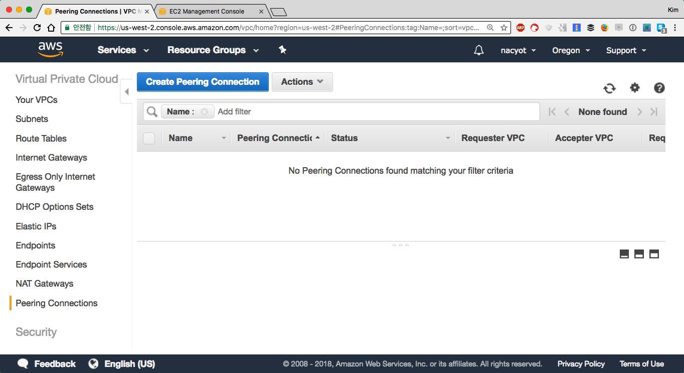 VPC 피어링 연결 목록