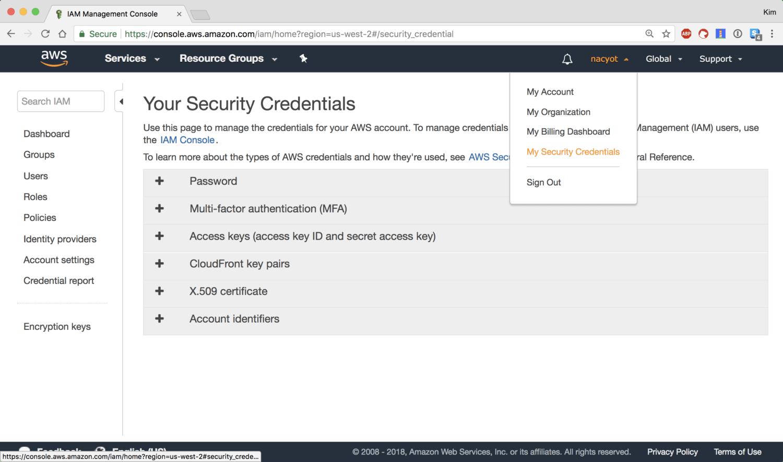 My Security Credentials 페이지로 이동합니다
